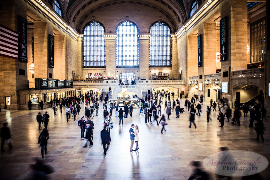 NYC Wedding Engagement Photography Grand Central Balcony Unique Ideas New York Time stands Still
