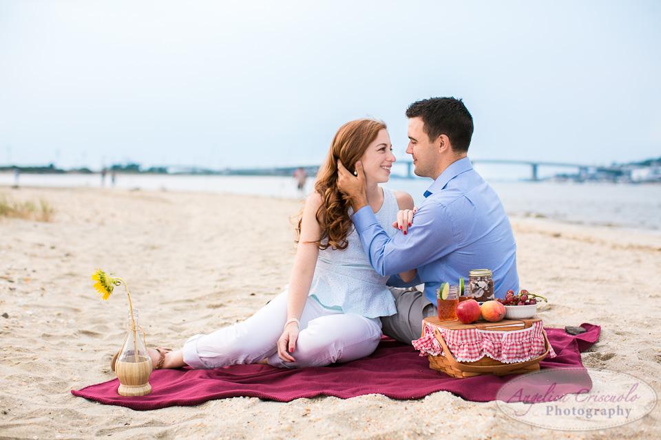 NJ Wedding Photographer Sandy Hook Beach Engagement Ideas Picnic
