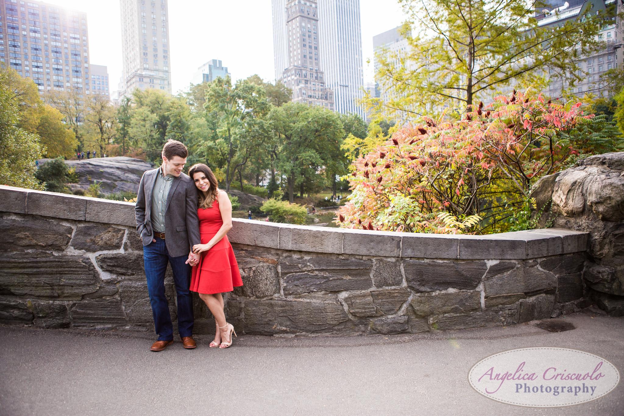 NYC Central Park Engagement photo ideas Gapstow Bridge red dress idea