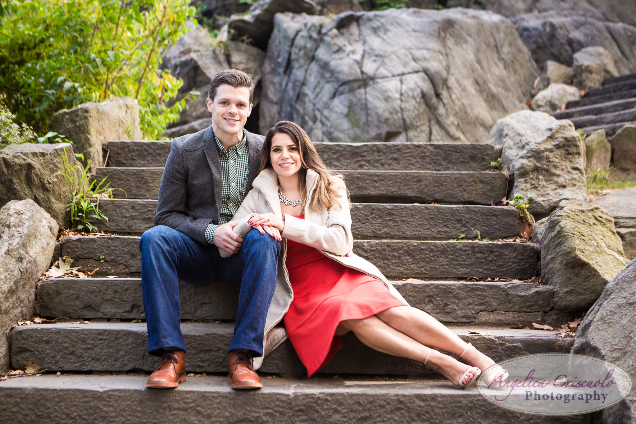 Central Park Engagement Photographer NYC Red Dress