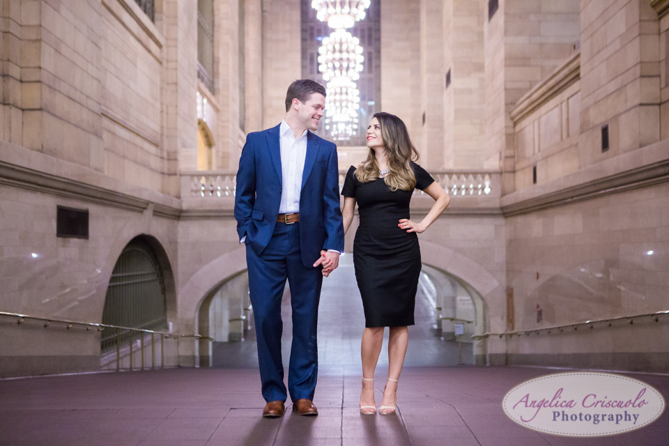 Grand Central Engagement Photos Chic Corporate Catwalk