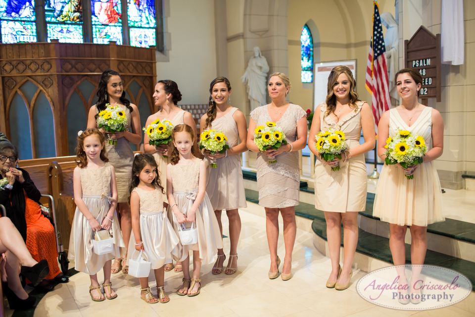 Bridesmaid in peach and beige and flower girls