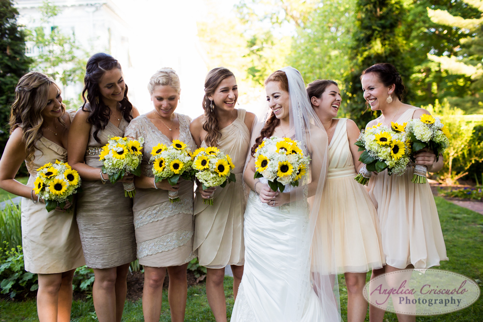 New Jersey Wedding Photo Bride and Bridesmaids sunflower bouquet
