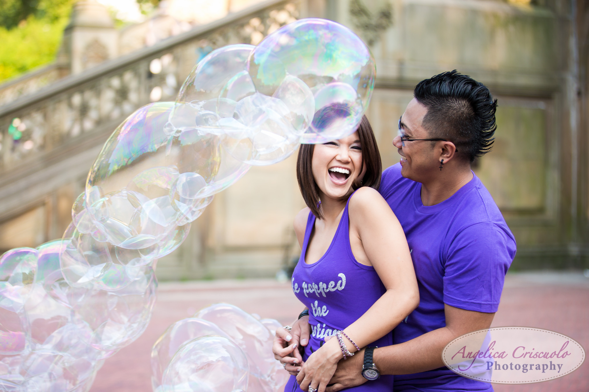 Central Park NY Engagement Photos with Bubbles