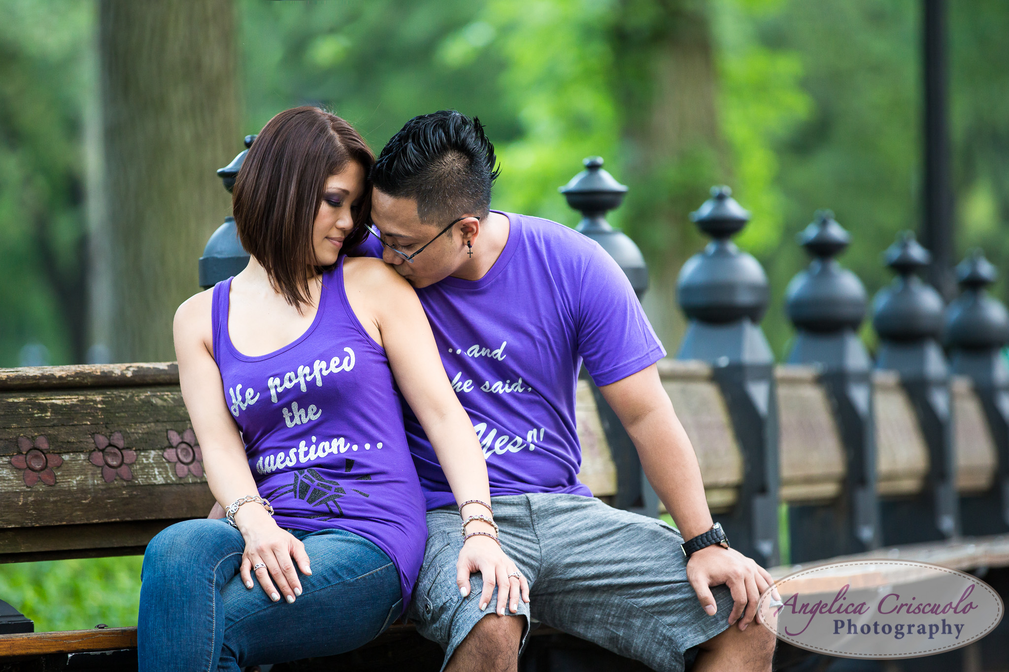 NYC Engagement photography ideas Central Park bench