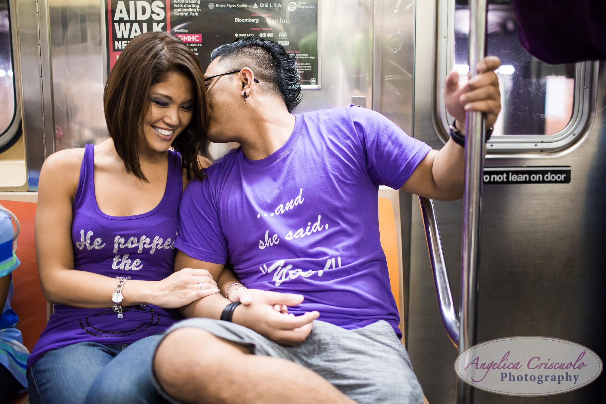 New York City engagement subway photo ideas