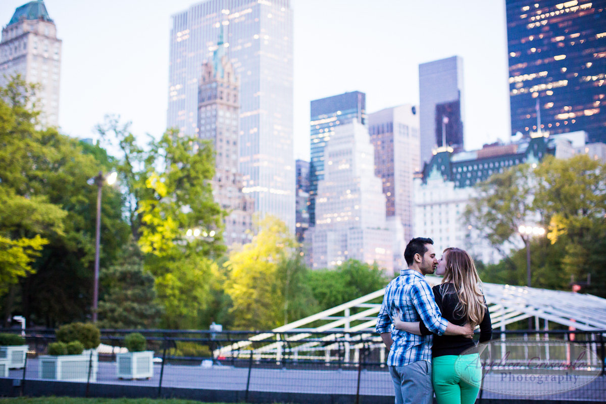 New York Engagement Photography Central Park skyline