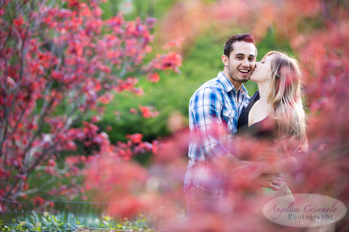 New York Engagement Photography Central Park Gapstow Bridge Spring flowers