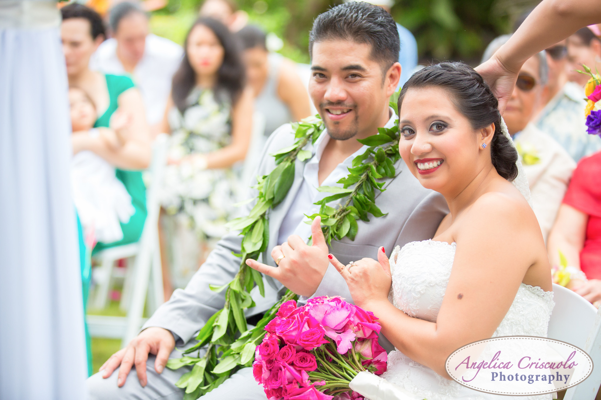Oahu Hawaii Destination Wedding Photos Bride groom hang ten