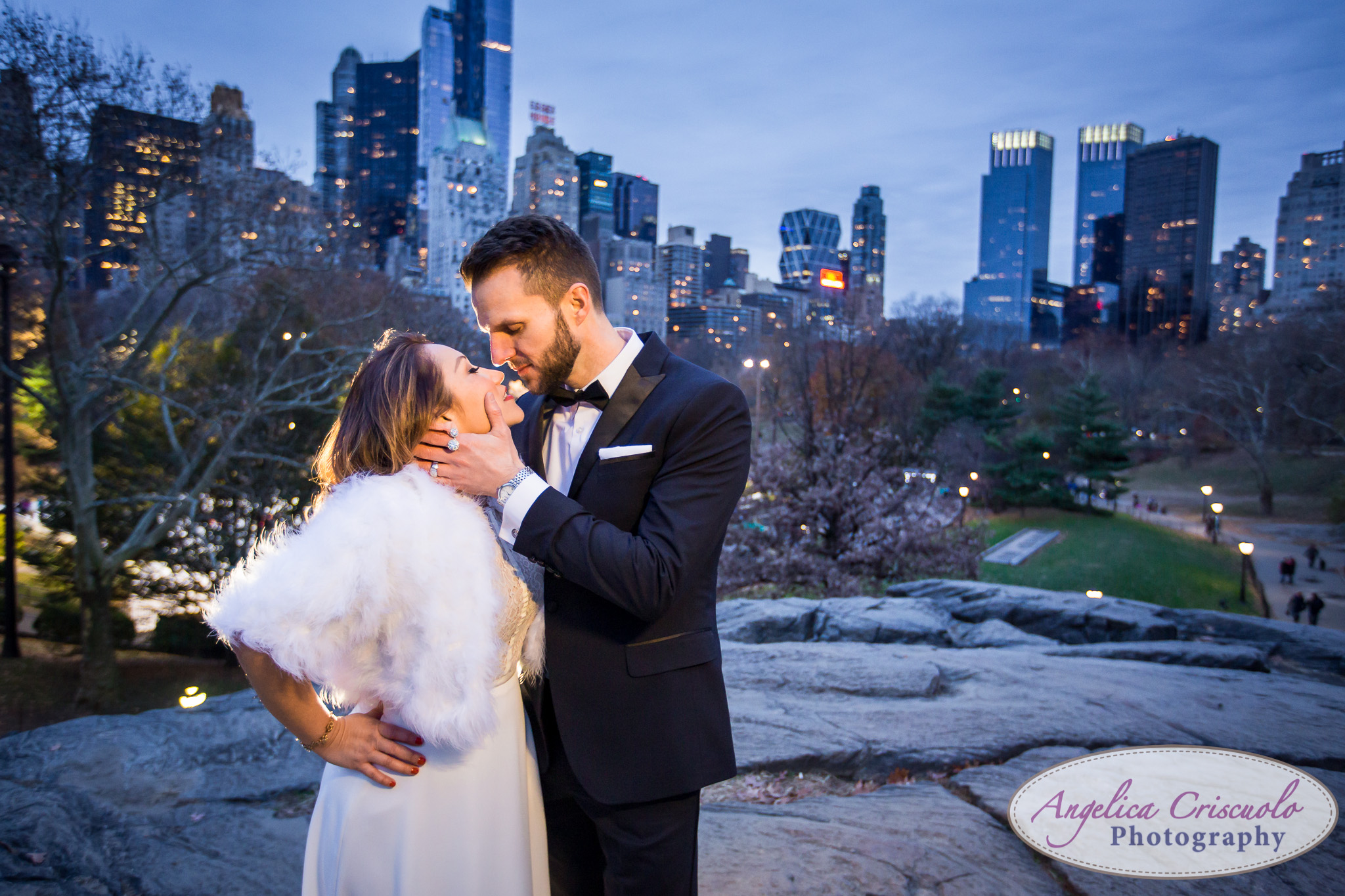 Central Park New York engagement couple wedding photos formal romantic skyline