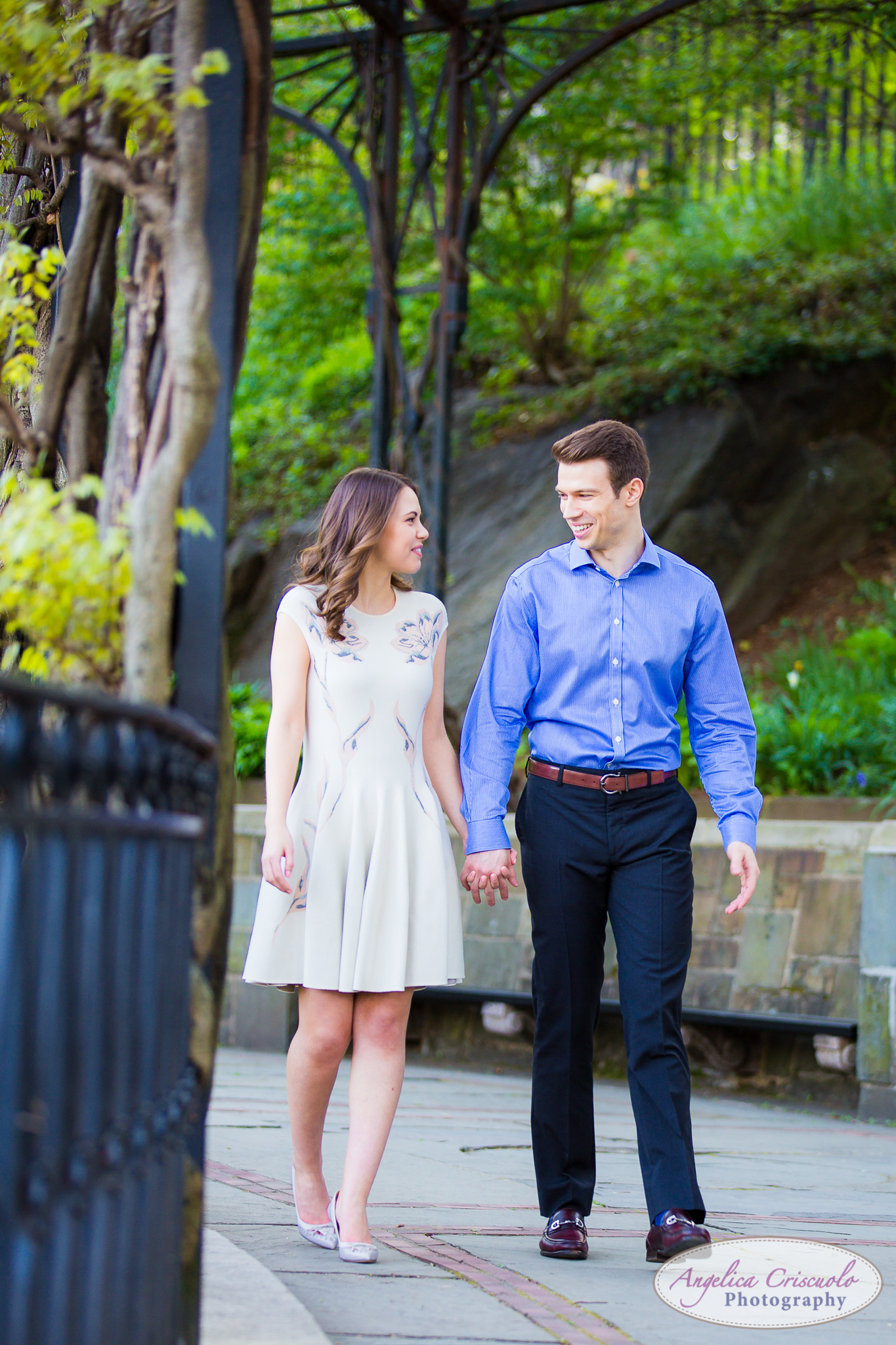 New York Wedding Engagement Conservatory Garden in Central Park walk