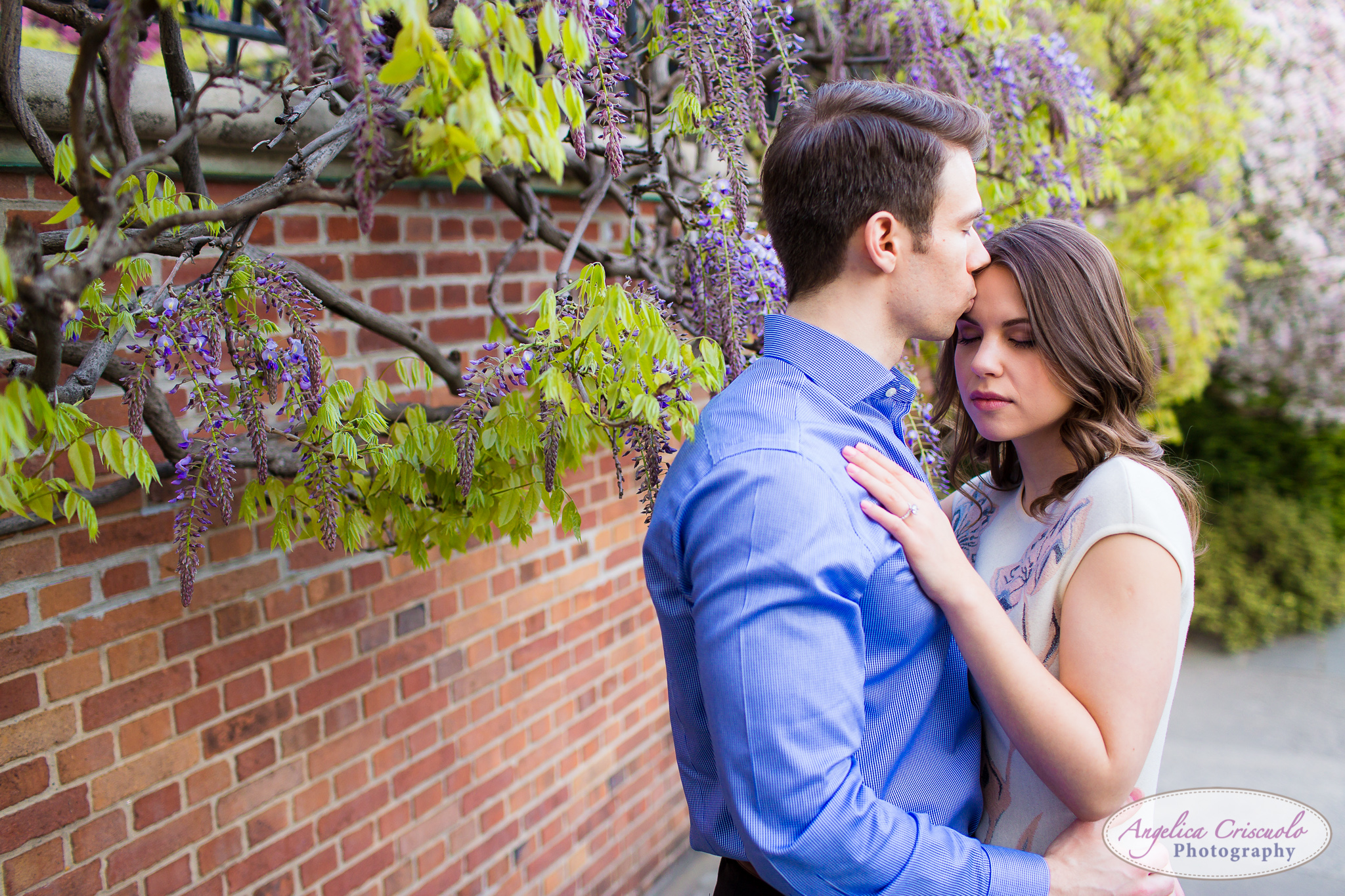 New York Wedding Engagement Conservatory Garden in Central Park Cherry Blossoms flowers