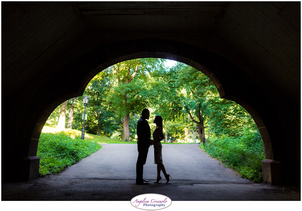 Centra Park Engagement Photographer photo ideas tunnel sillouette