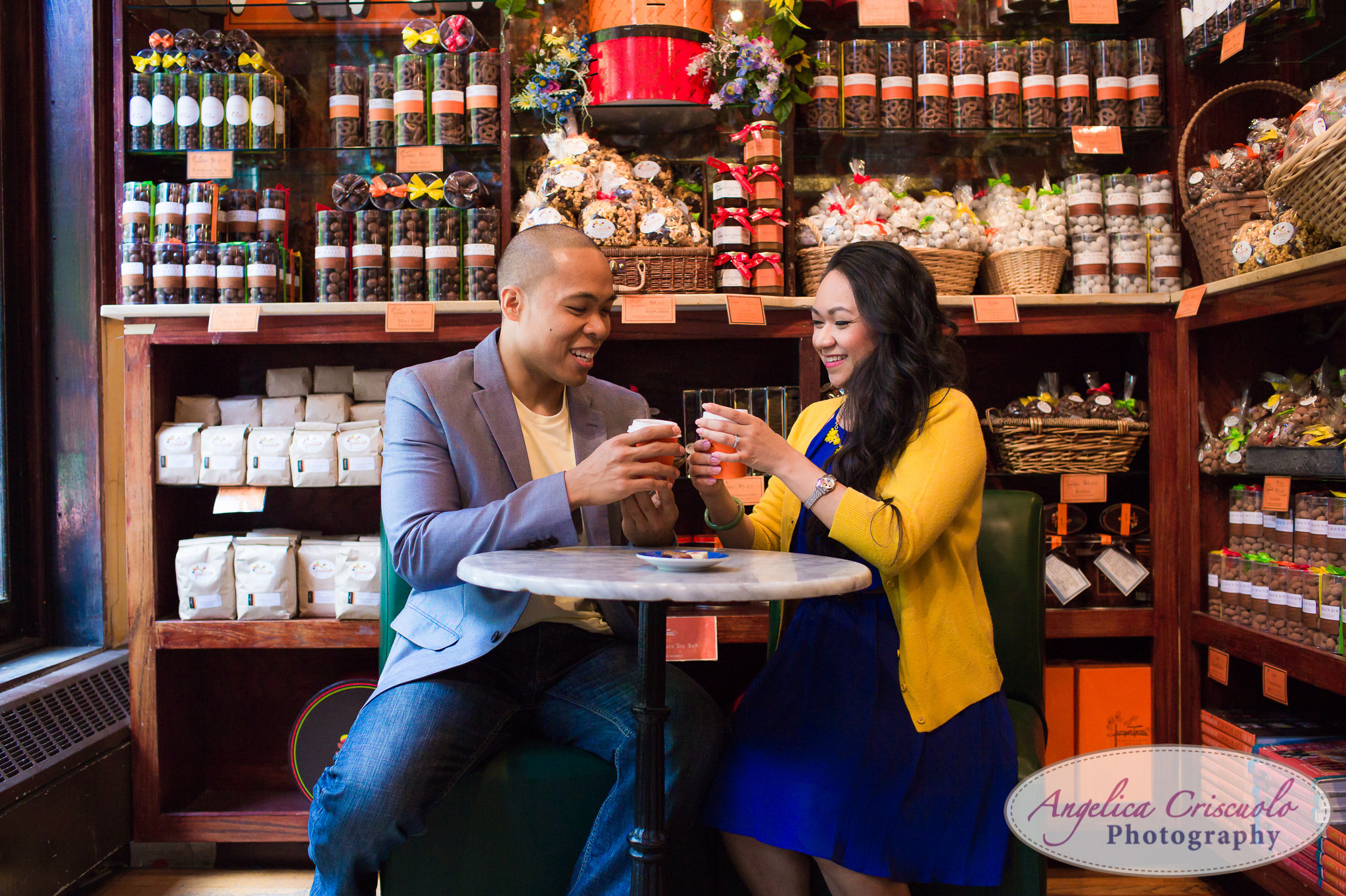 Jacques torres chocante engagement photos DUMBO Brooklyn New York Photographer Wedding