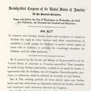 Wheeler-Howard or indian reorganization Act