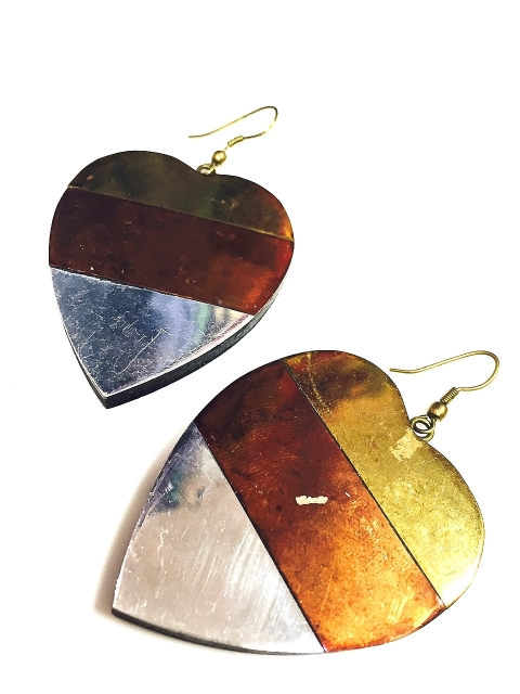 Tri-colour Heart Earrings