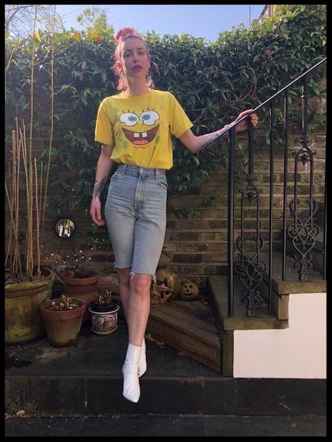 Vintage SpongeBob T-shirt - Etsy, City shorts - East London Style (Home-made),Boots - Dorateymur.