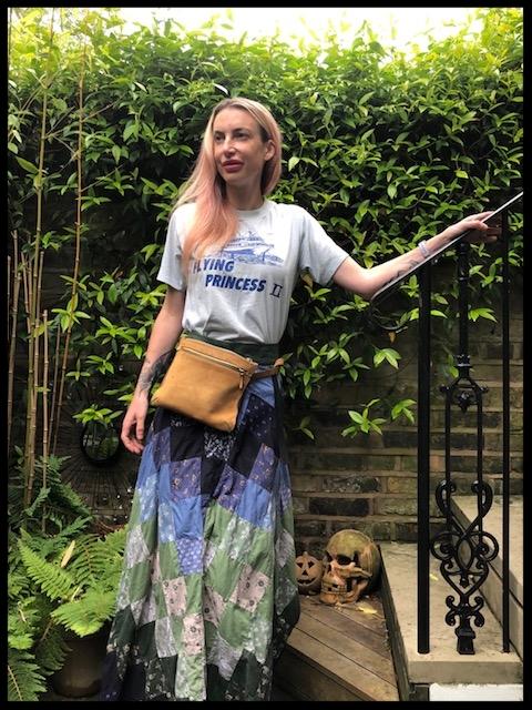 T-shirt - Ibiza Flea Market, Belt Bag - Theory, Laura Ashley Patchwork Skirt - Ebay.