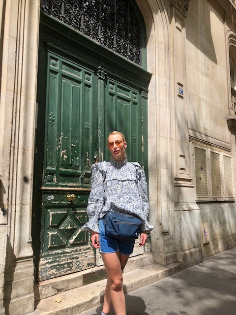 Shorts - Vintage from Westbourne Grove London, Blouse - Isabel Marant, Belt Bag - Champion, Tiredness - Models own