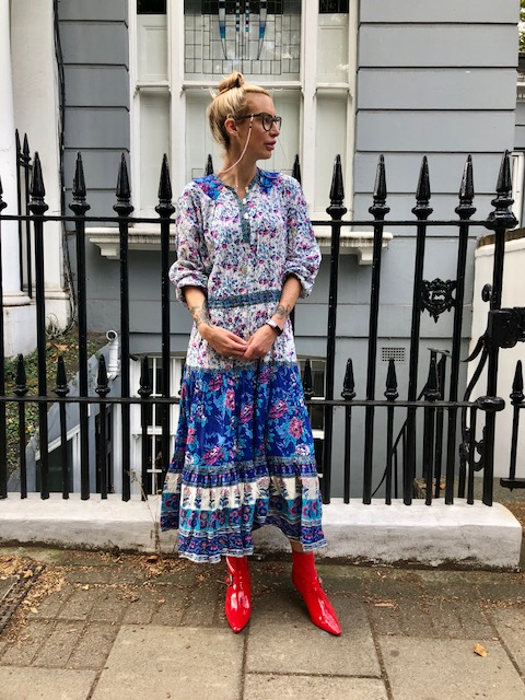 Dress - Dead Stock Notting Hill, Boots - Dorateymur, Glasses chain - Amazon