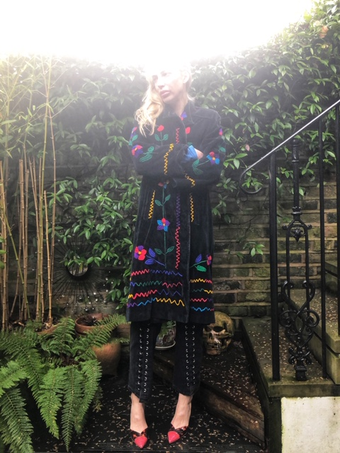 Coat - 1970s Dead stock, Jeans - last season McQueen, Shoes - Sophia Webster