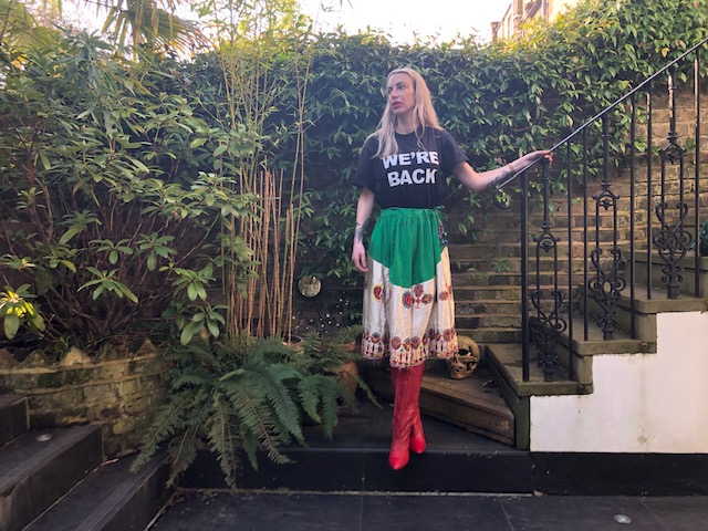 T-shirt - Traid charity shop, Skirt - Ibiza flea market, Boots - Charity shop