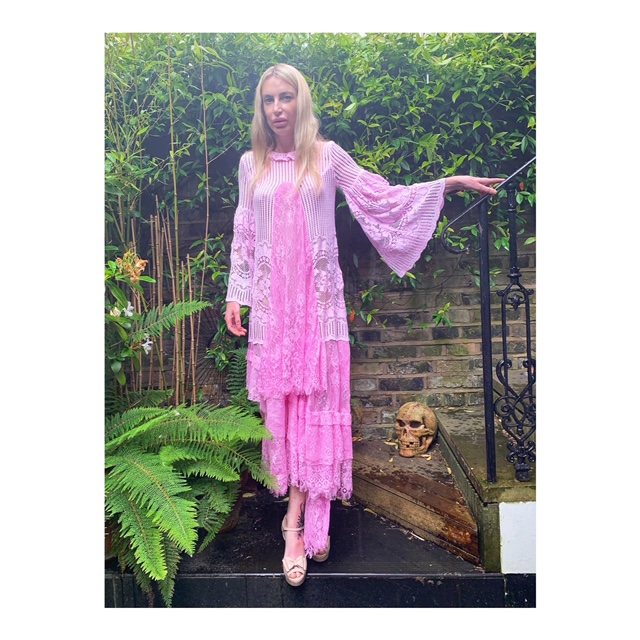 Hand dyed tunic and hand lace dress. Combining a crochet tunic and an old lace table cloth. Both were dyed using the same pink dye.