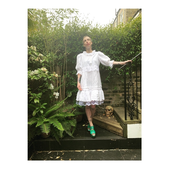 Cotton and lace dress made by mixing a vintage Austrian blouse and a french cotton petticoat.