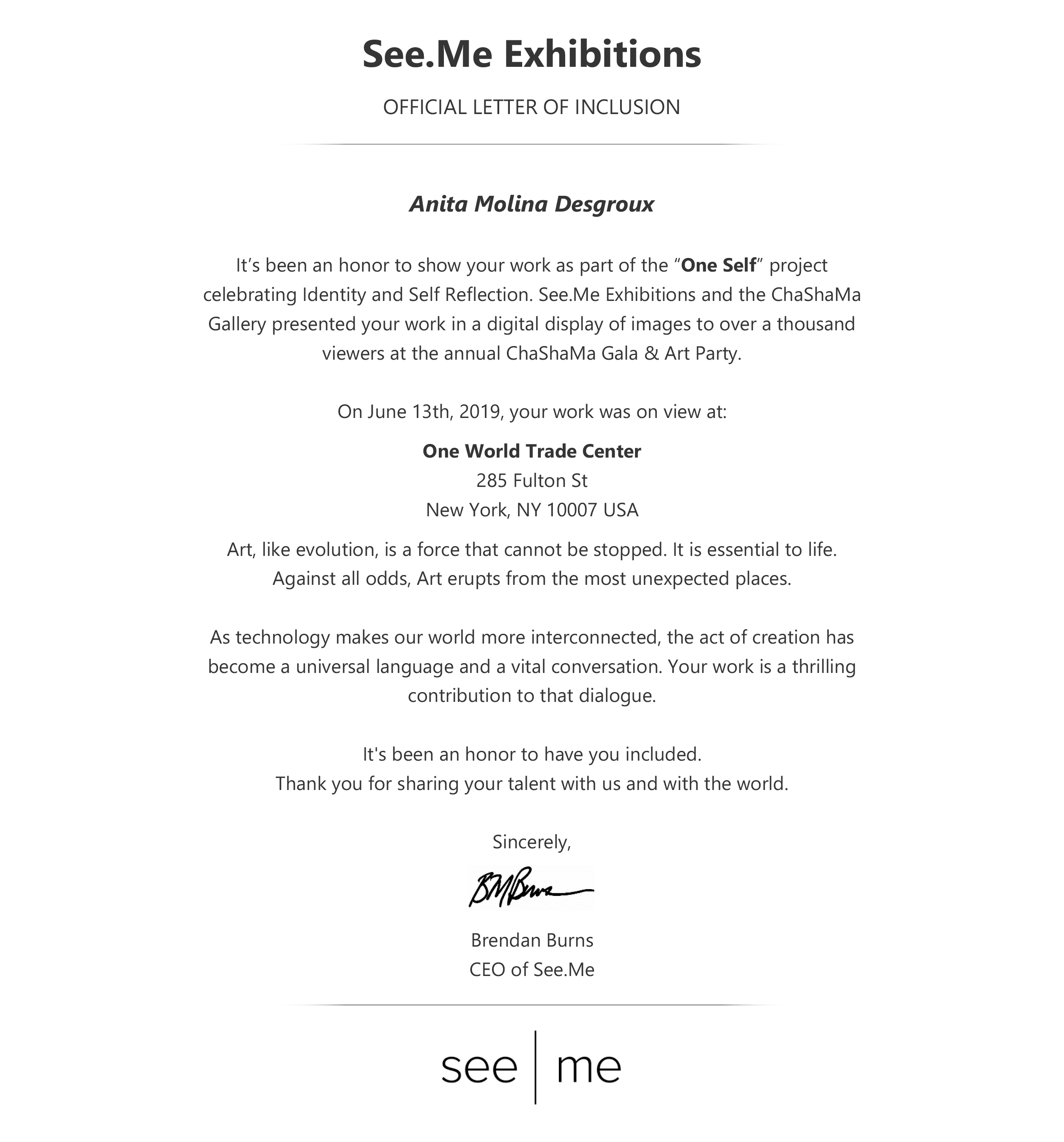 Anita Molina Desgroux_SeeMe One Self_Official Letter of Inclusion.png