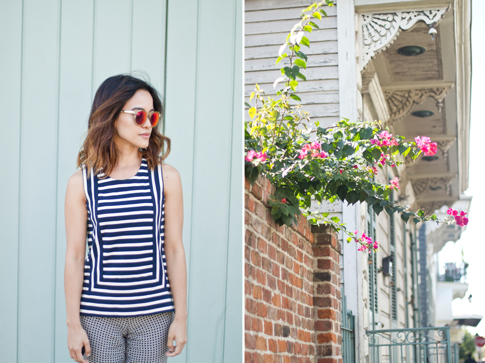 Oh, just me admiring all the beautiful colors of New Orleans... ( Top by Madewell, Pants by Joie, Sunglasses by LeSpecs .)