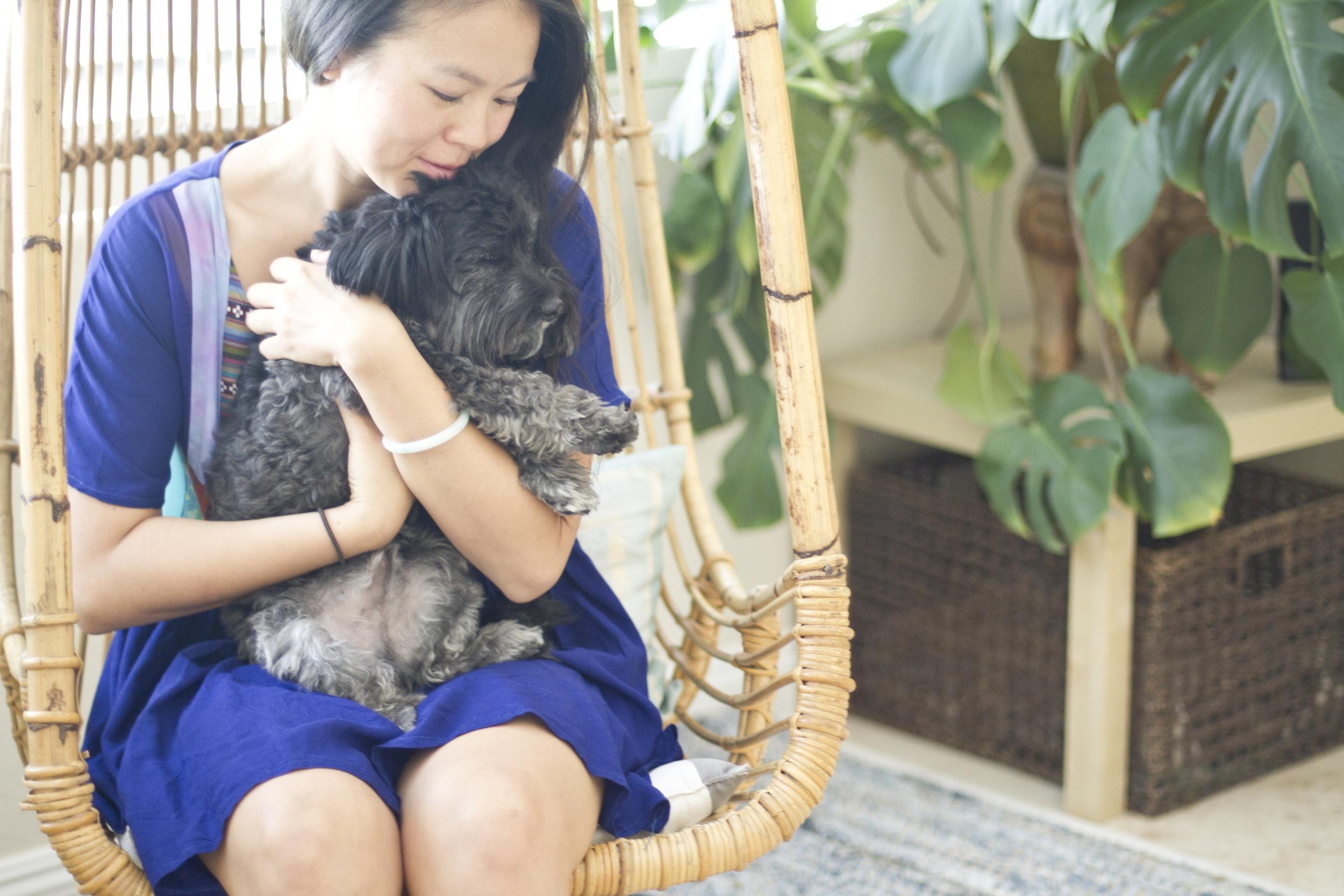 Lianna cuddling with Schatzi.