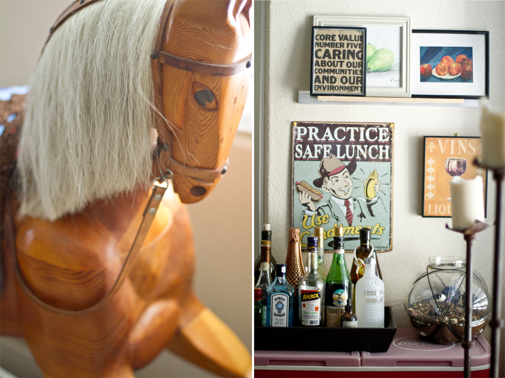 L: An old wooden horse from Alex's childhood in Germany R: Happy hour corner in Alex & Lianna's kitchen.