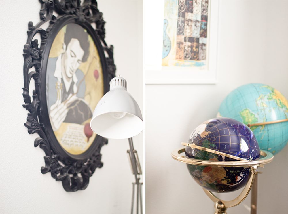 Art and vintage globes inside Mary Beth's home office.
