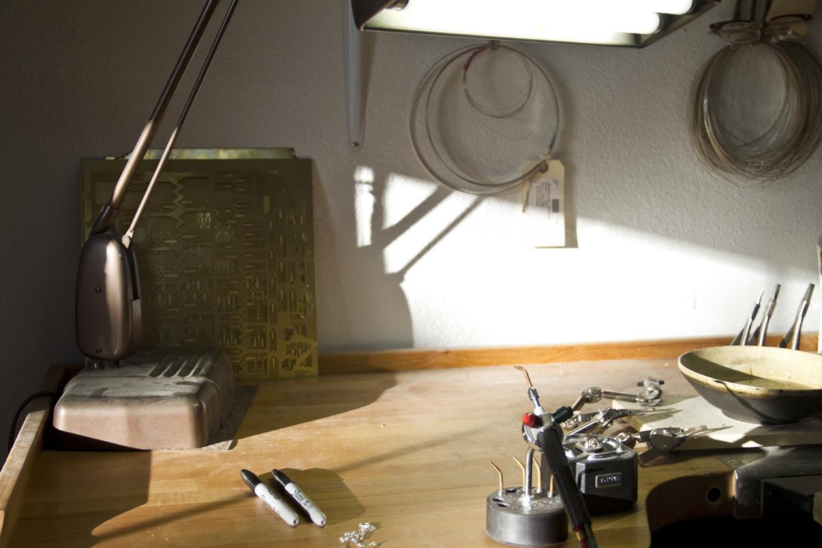 Afternoon light inside the I Adorn U studio.