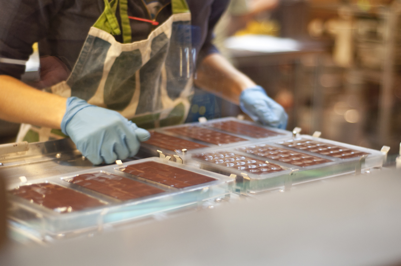 Handmade bars at Dandelion Chocolate.