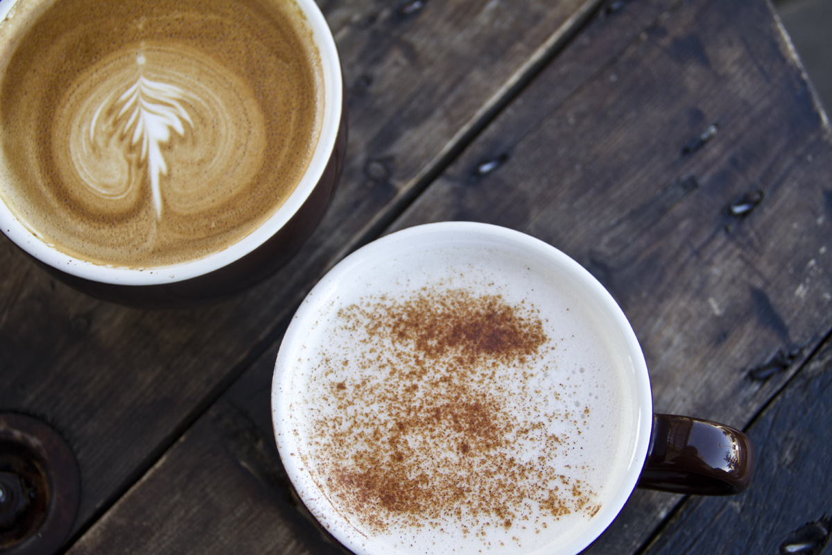 One of Sunrise Coffee's specialty flavored lattes & the chai tea latte.