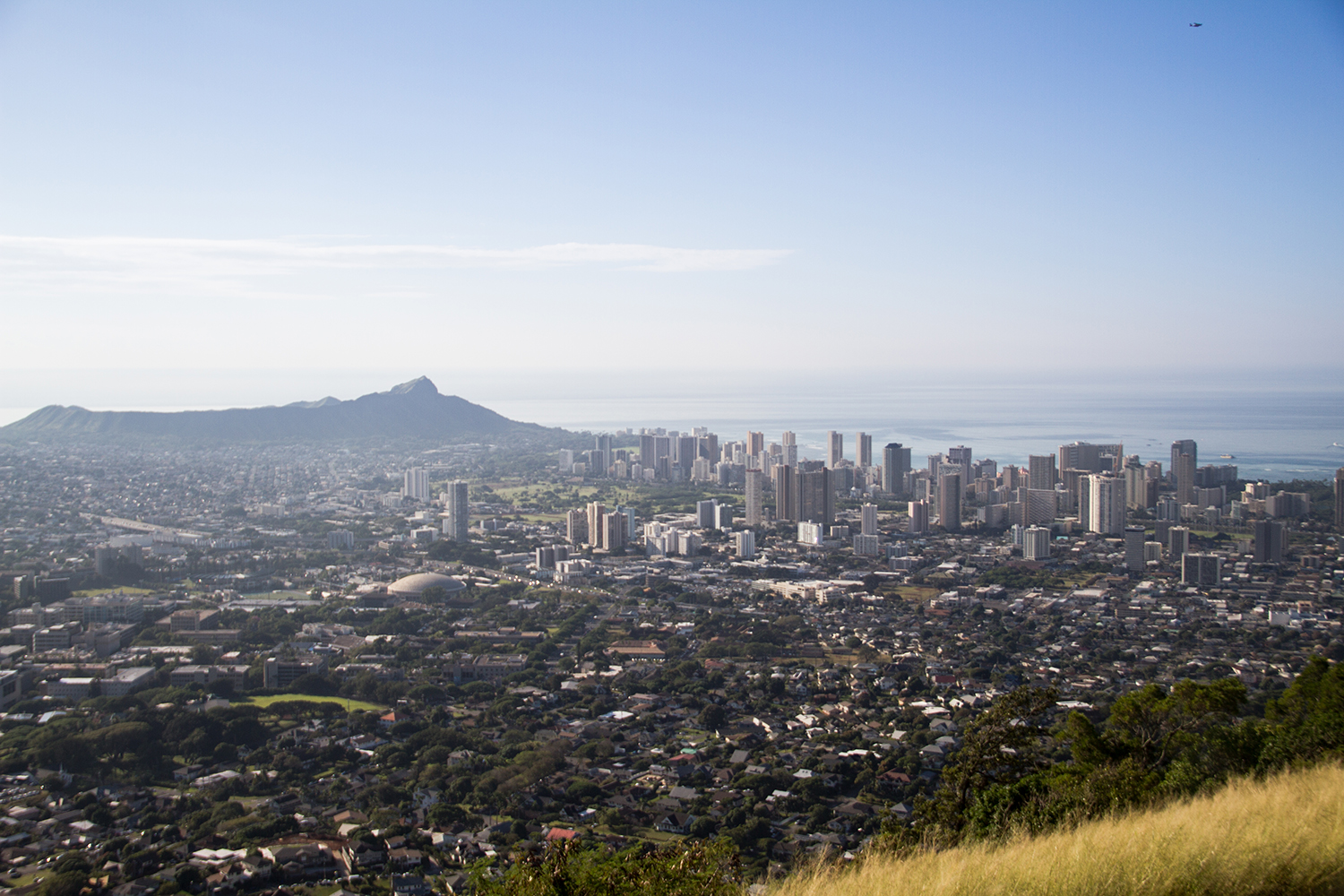 View of Diamond Head & Waikiki from the top of Tantalus. (Can you spot the teeny tiny plane in the sky?)
