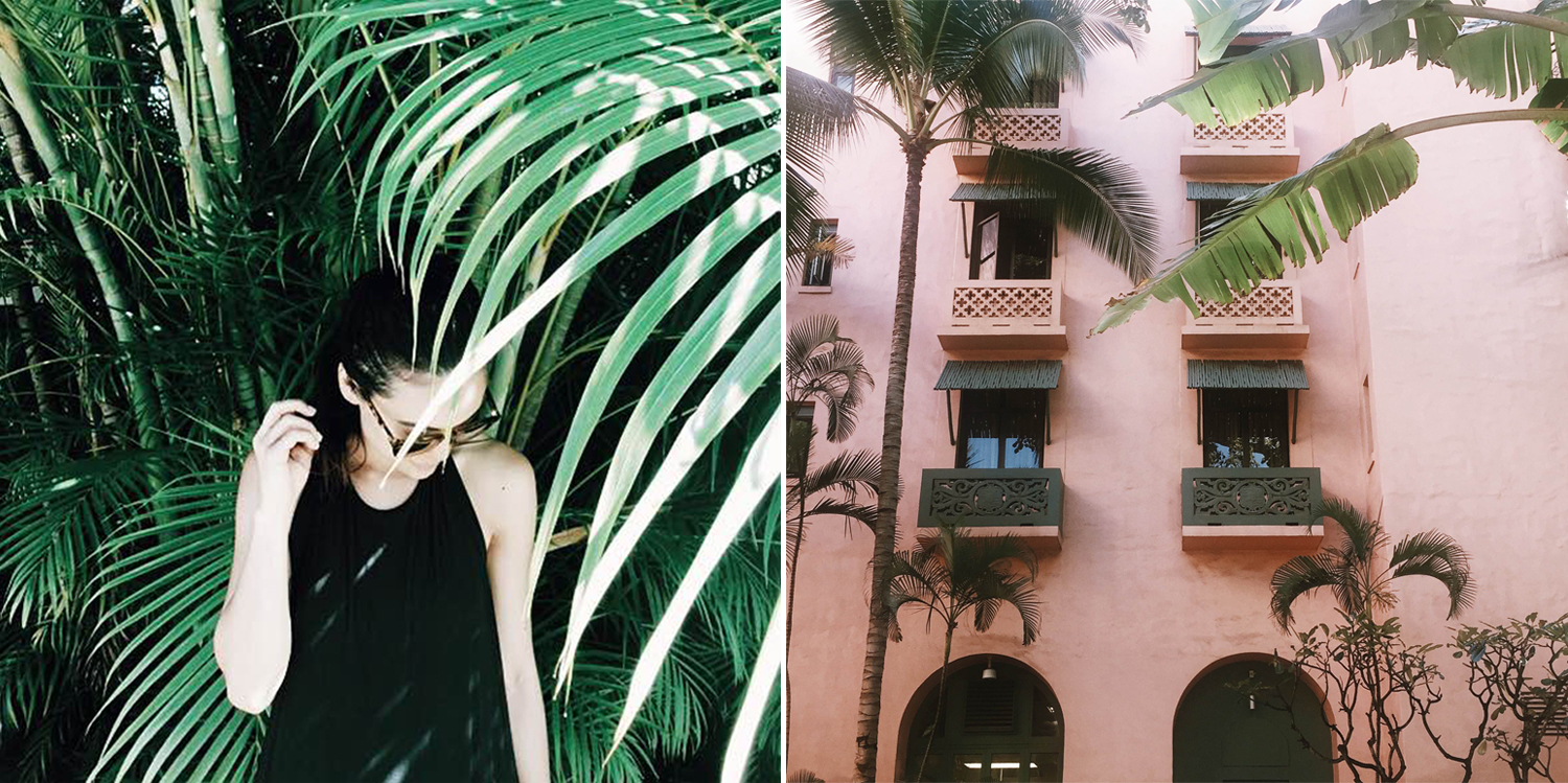 """[left:} Just me post beachtimein Kailua. Photo credit: my dear hubby. [right:] The Royal Hawaiian, also known as """"The Pink Palace""""--my favorite on Waikiki."""