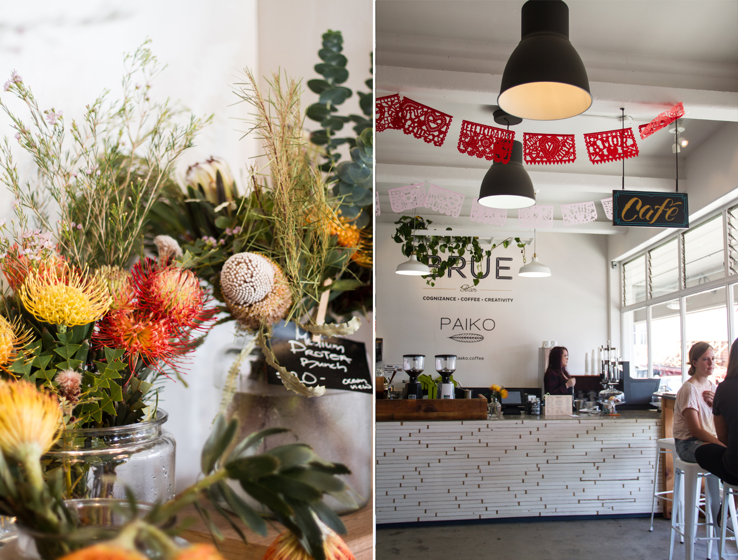 [left:] Lovely floral arrangement [right:] Brue Bar inside Paiko-- their teas and coffee are amazing!