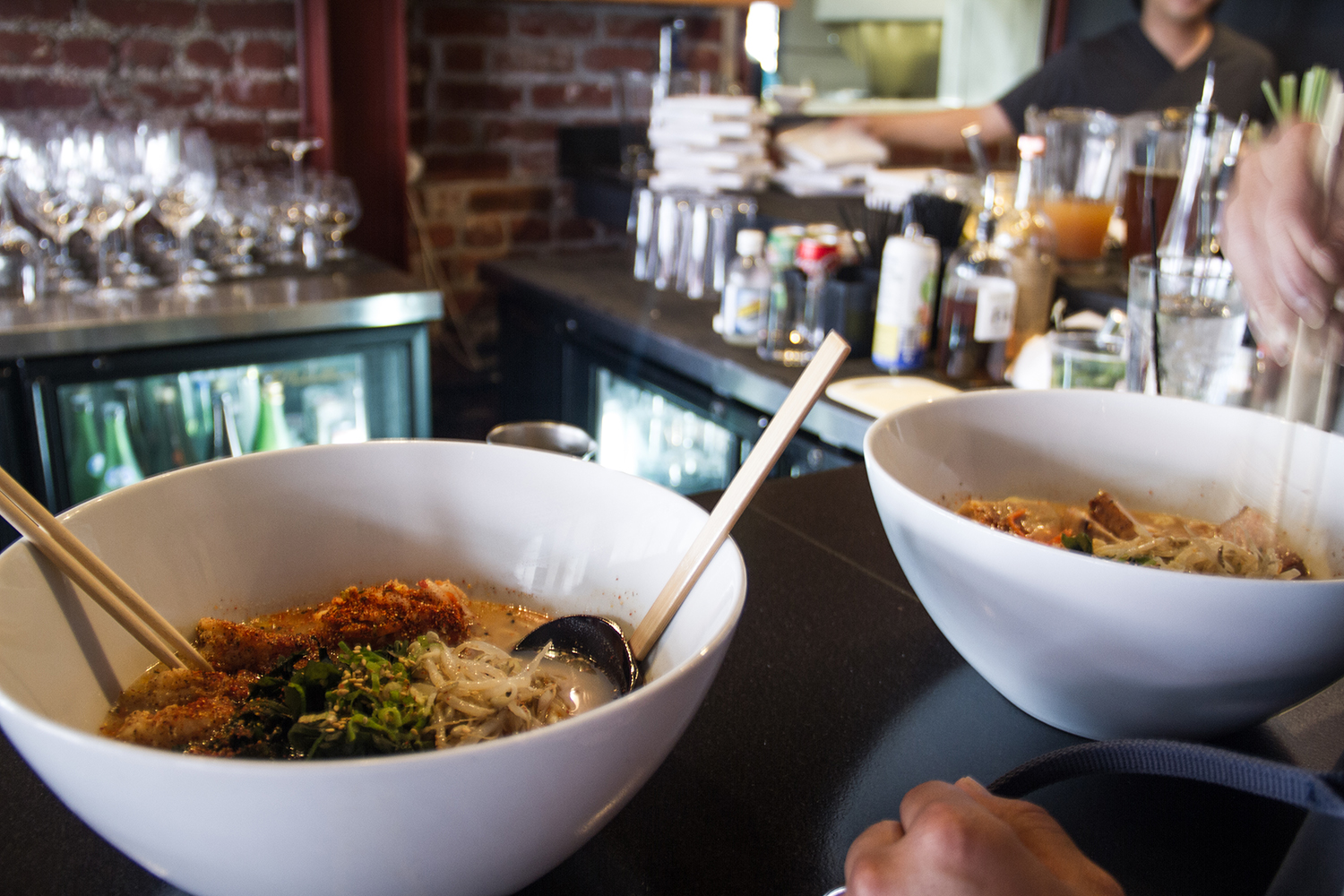 The shrimp kimchee & the Belly Bowl ramen at Lucky Belly. So good!