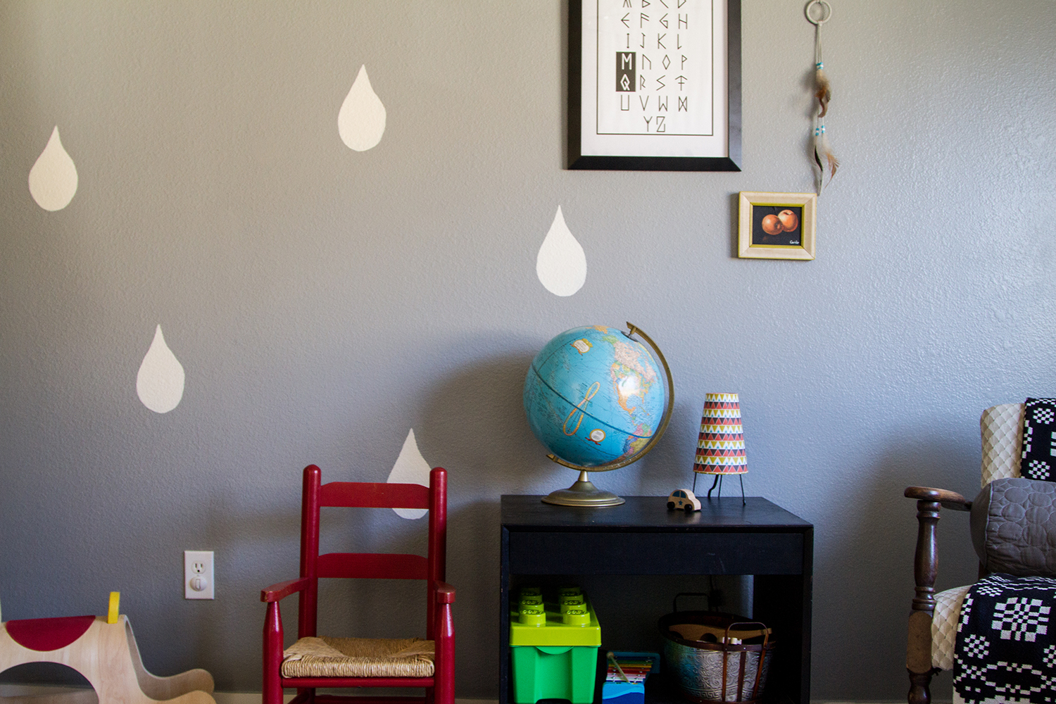 Amanda's 2-year-old son Miner's room is definitely a reflection of his mom & dad's artistic backgrounds.