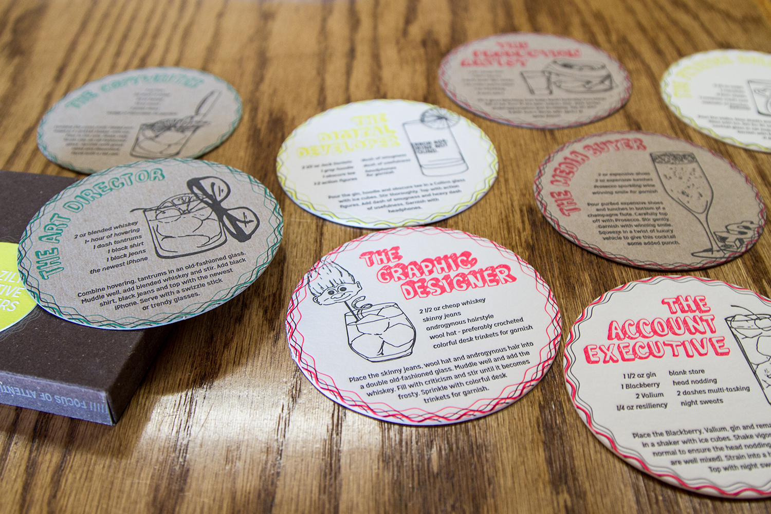 "The award-winning ""For the Love of Advertising"" Creative Coasters designed, illustrated & written by the talented Amy."