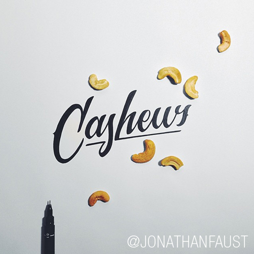 Jonathan Faust's feed is a constant source of fun, inspiring hand lettering displayed in fresh ways.