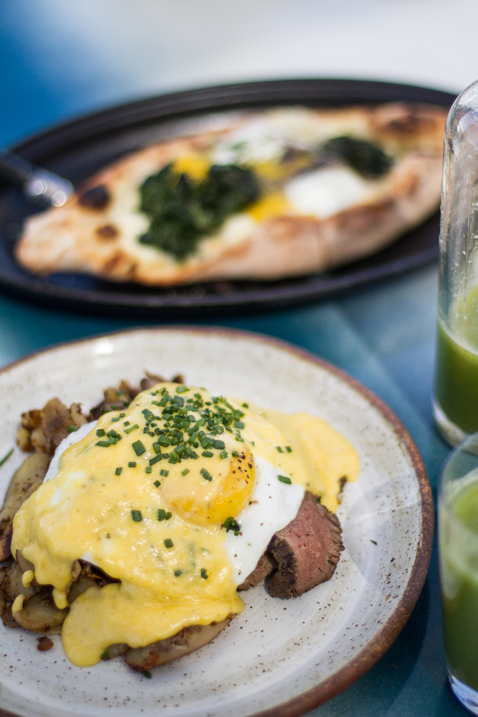 The steak and egg with bearnaise sauce.