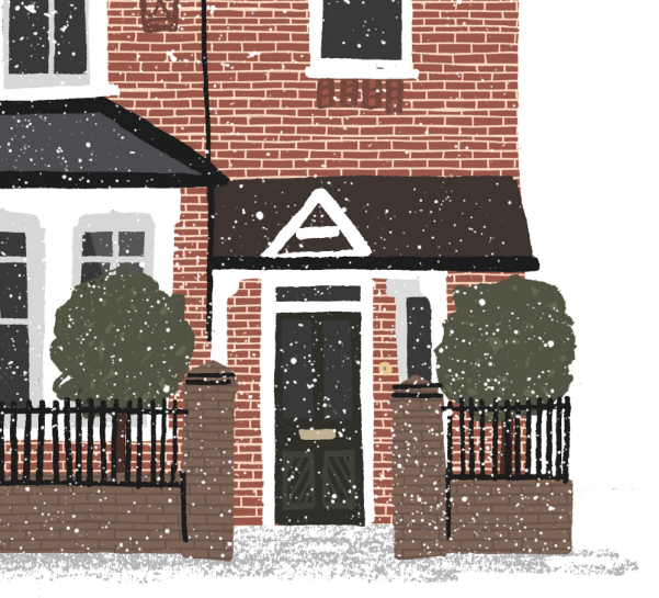 Close up of the snowy house