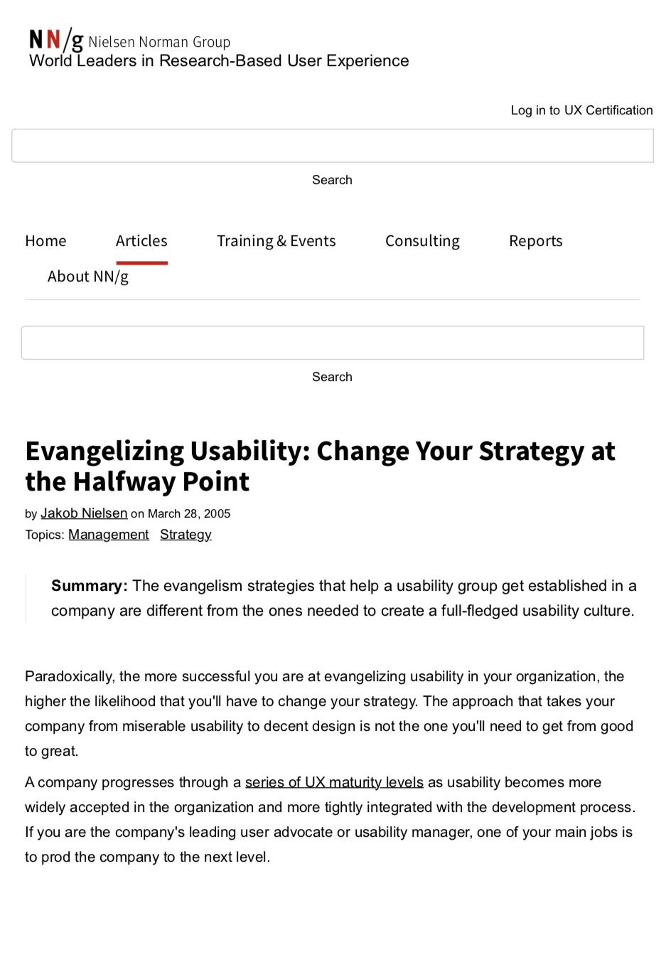 Evangelizing usability -