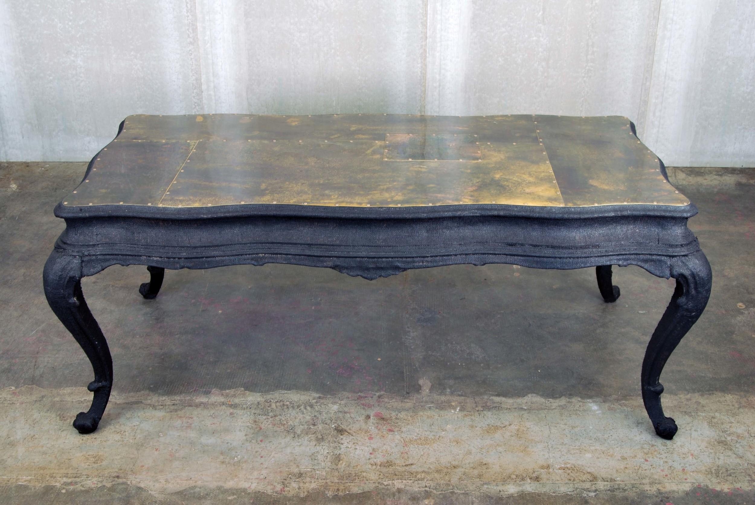 ORVETT for DIESEL - CHIPPENDALE TABLE, black jute and brass
