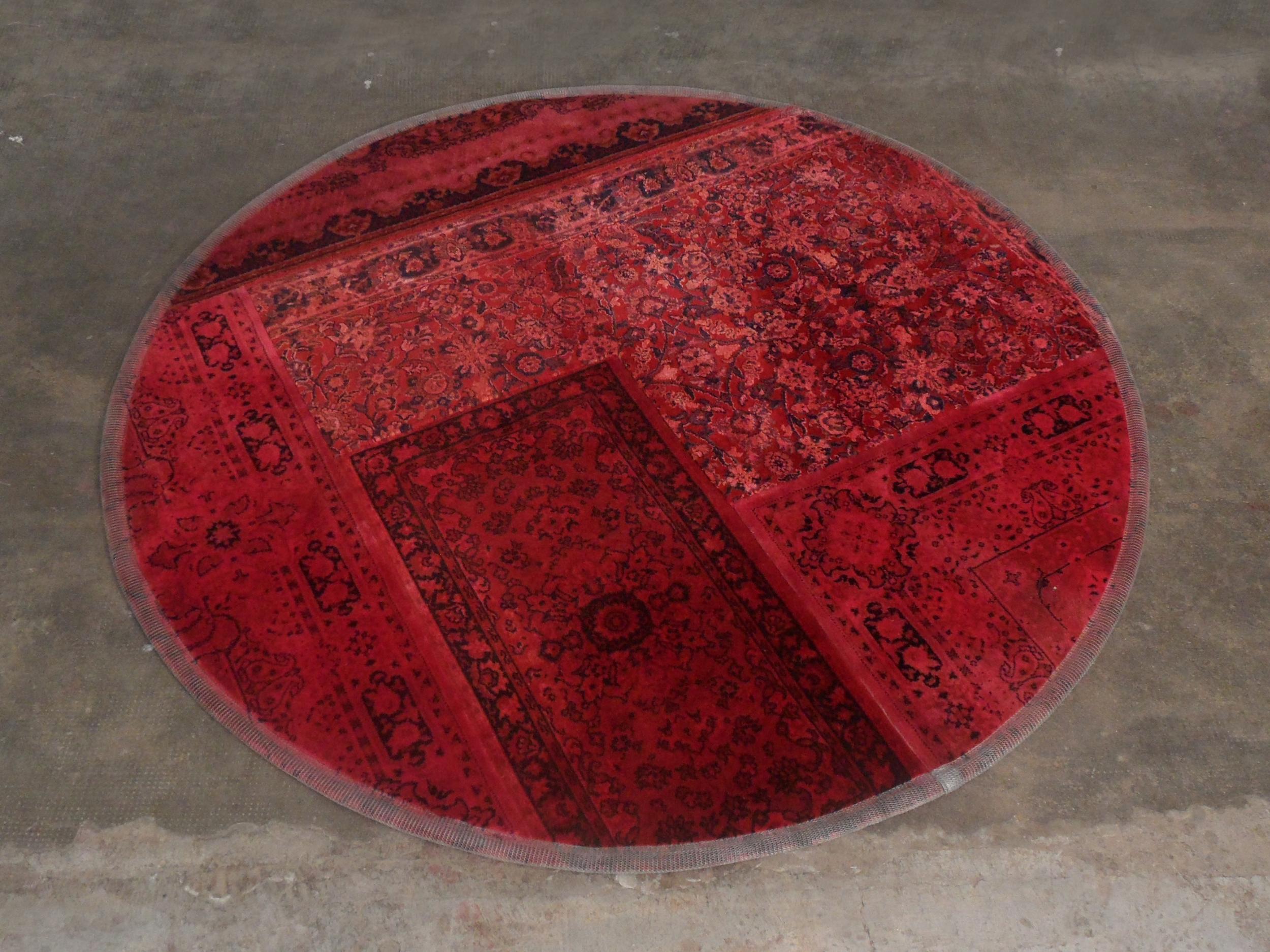 ORVETT for DIESEL - ROUND PATCHWORK CARPET, red painted