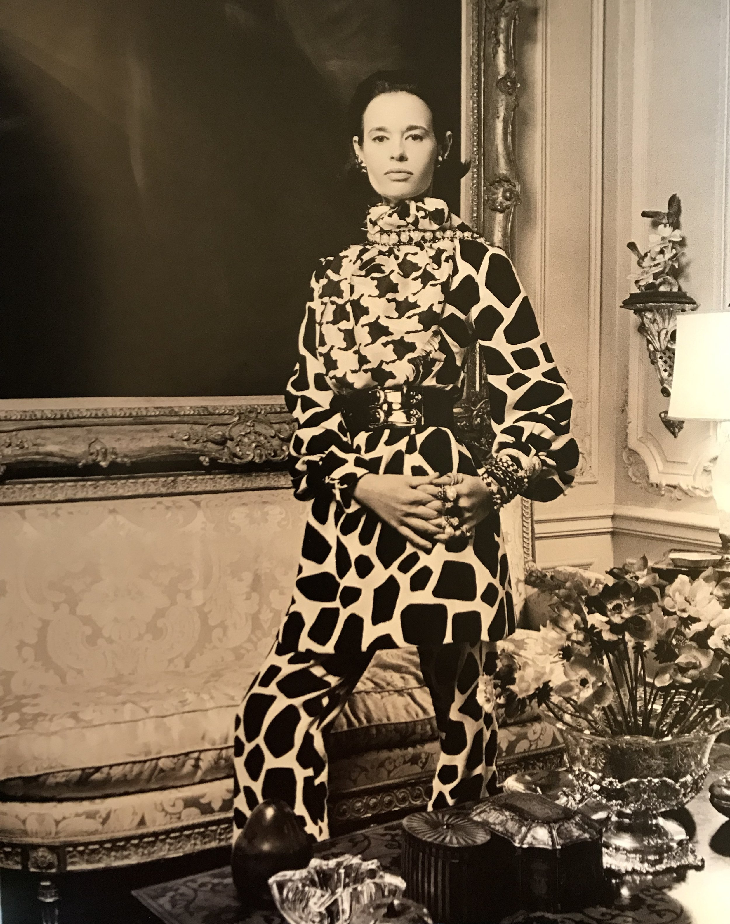 Gloria Vanderbilt wearing Bill Blass giraffe print tunic and pants by Bill Blass, spring 1969  Photograph by Francesco Scavullo, Town and Country, 1969.