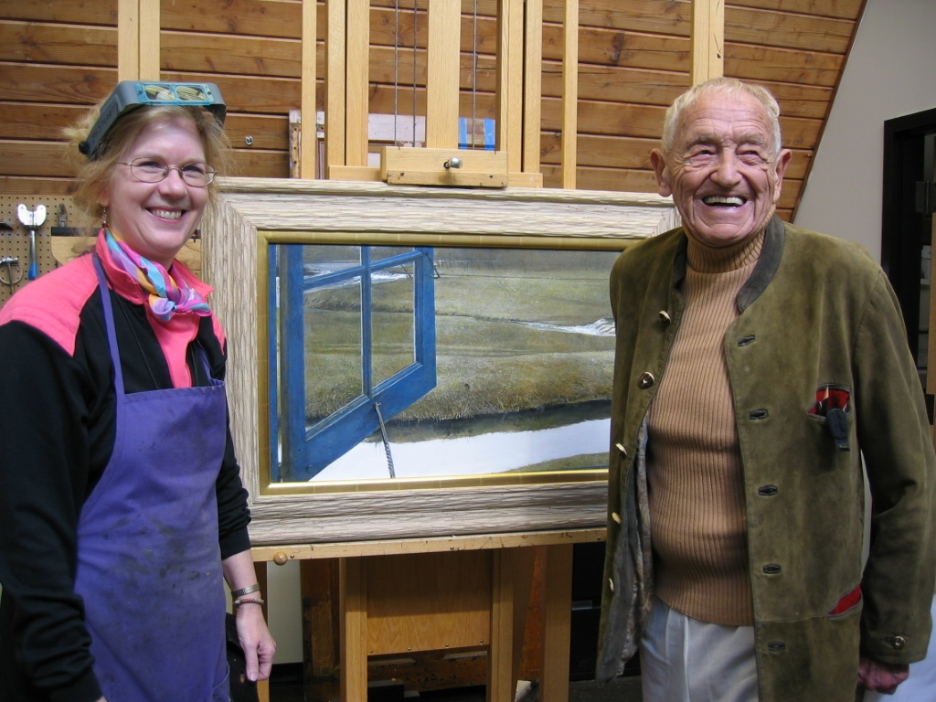 Andrew Wyeth and Joyce Hill Stoner with the painting  Love in the Afternoon,  by Andrew Wyeth